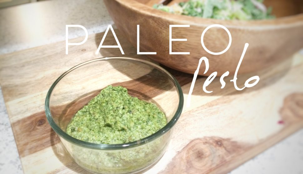 Paleo Pesto Con Pasta with Breaded Chicken