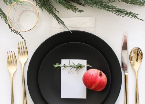 A Thanksgiving Giveaway: Festive Name Cards and My Favorite Black Dinnerware